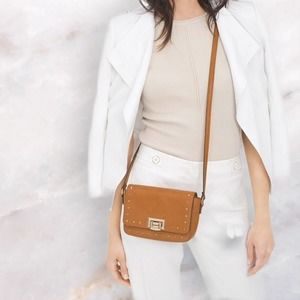 WHBM Studded Pebbled Faux Leather Crossbody Bag